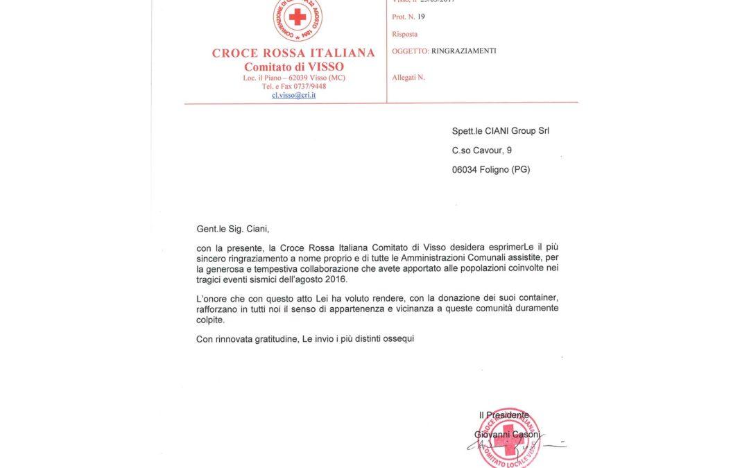 Attestato ringraziamento Croce Rossa