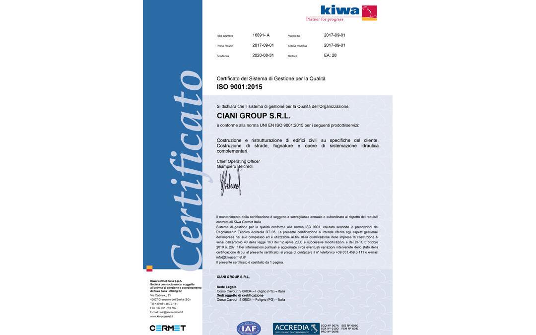 Certificazione UNI EN ISO 2001:2015