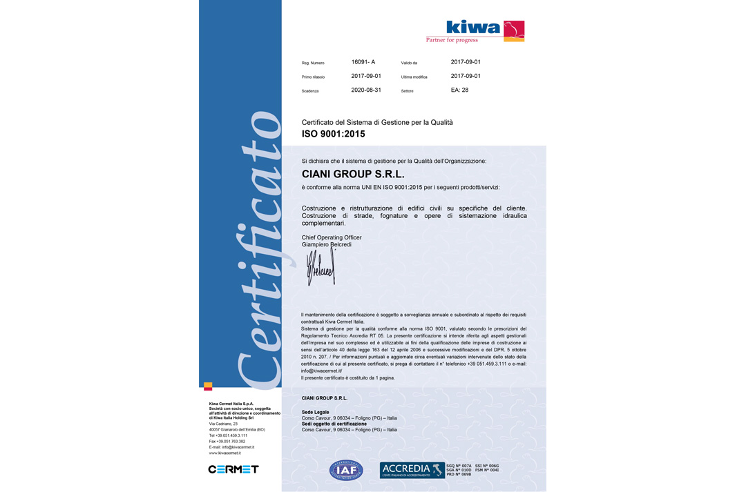 certificato ISO 2001:2015